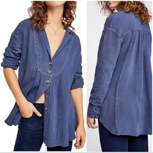 •FREE PEOPLE•All About the Feels Button-Down Shirt